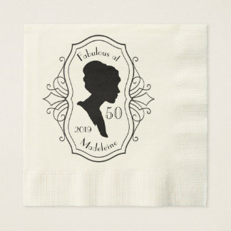 Fabulous at Fifty Cameo Lady Silhouette Elegant Disposable Napkin