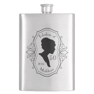 Fabulous at Fifty Cameo Lady Silhouette Elegant Hip Flask