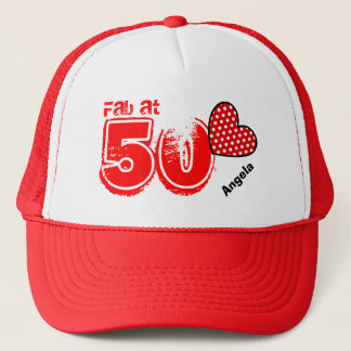 Fabulous at Fifty Custom Name V16 Trucker Hat