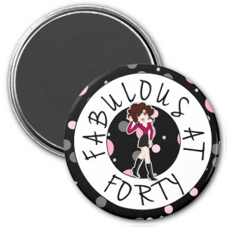 Fabulous at Forty Cute Cartoon Diva Girl 3 Inch Round Magnet