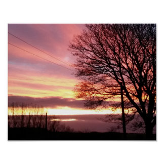 Fabulous autumn pink sunset poster