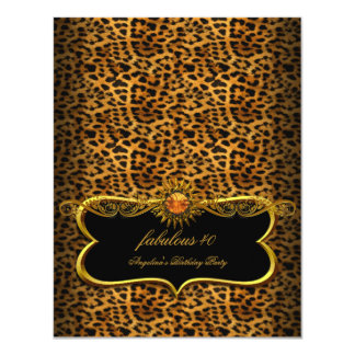 "Fabulous Black Gold Leopard Animal Birthday Party 4.25"" X 5.5"" Invitation Card"