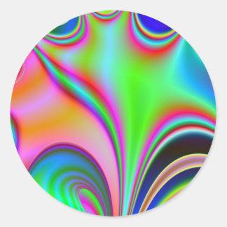 Fabulous Bright Abstract Fractal Art Design Rainbo Classic Round Sticker