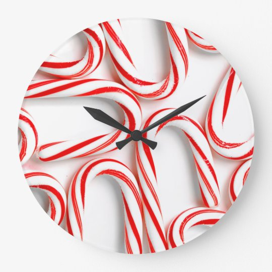 Fabulous Christmas Candy Canes Large Clock
