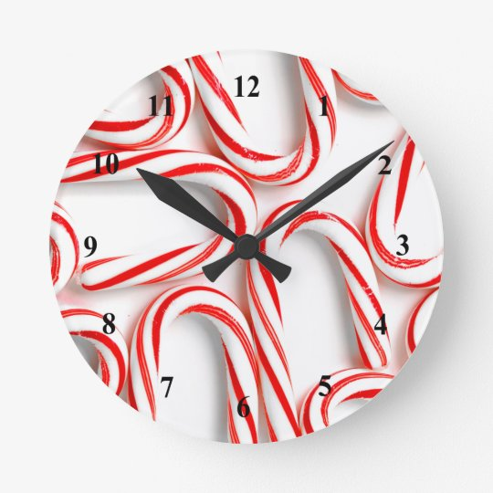 Fabulous Christmas Candy Canes Round Clock