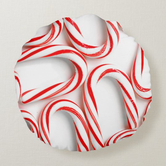Fabulous Christmas Candy Canes Round Pillow
