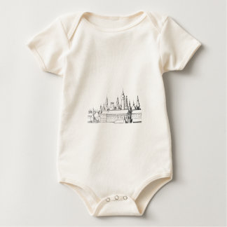 fabulous city . artwork . black and white baby bodysuit