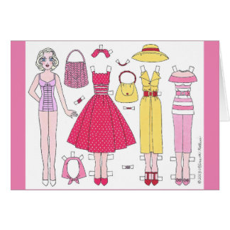 Fabulous Fifties: Marilyn Paper Doll Blank Card