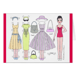 Fabulous Fifties: Polly Paper Doll Blank Card