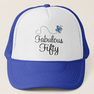 Fabulous Fifty Blue Butterfly Birthday Gift Trucker Hat