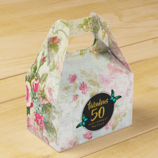 Fabulous Fifty Butterfly on Vintage Collage Favor Box