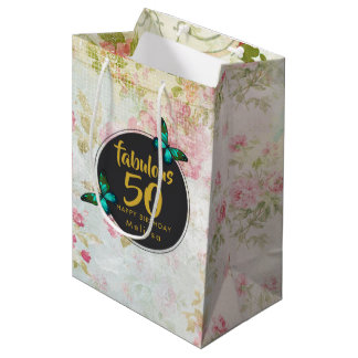 Fabulous Fifty Butterfly on Vintage Collage Medium Gift Bag