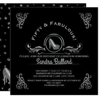 Fabulous Fifty Silver High Heels Birthday Party Card