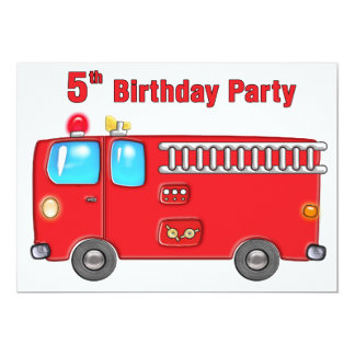 Fabulous Fire Truck 5th Birthday Card