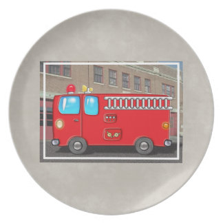 Fabulous Fire Truck and Fire Station Party Plate