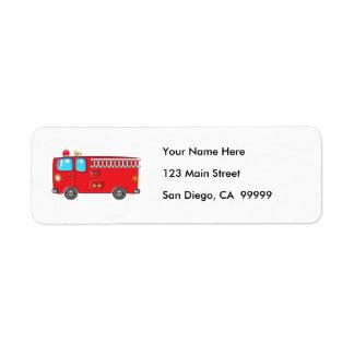 Fabulous Firetruck Return Address Label