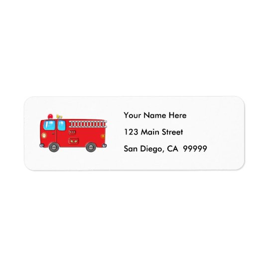 Fabulous Firetruck Return Address Label