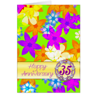 Fabulous flowers 35th anniversary for a couple card