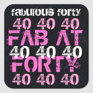Fabulous Forty 40  Birthday Black Pink Party Square Sticker
