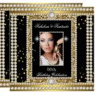 Fabulous Gold Black Glamour Photo Diamond Party Card