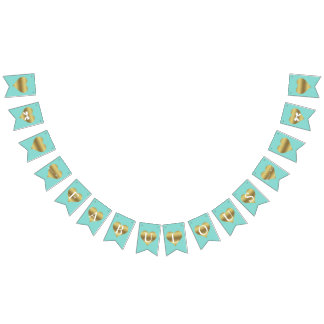 Fabulous Gold Heart Tiffany Party Bunting Banner