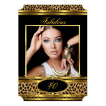 "Fabulous Leopard Birthday Party Black Gold Photo 5"" X 7"" Invitation Card"