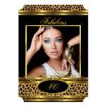 "Fabulous Leopard Birthday Party Black Gold Photo 5"" X 7"" Invitation Card"