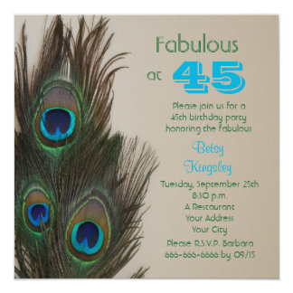 Fabulous Peacock 45th Birthday Party Invitation