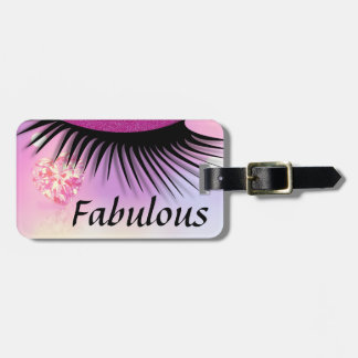 Fabulous Pink Diamond-Glitter Eyes Luggage Tag