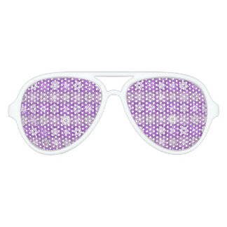 Fabulous Purple Snowflakes Aviator Sunglasses