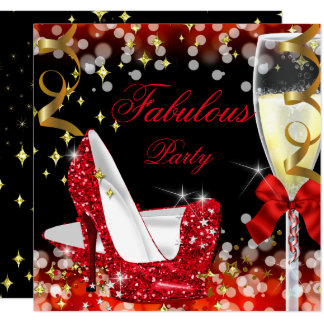 Fabulous Red Glitter High Heel Birthday Card