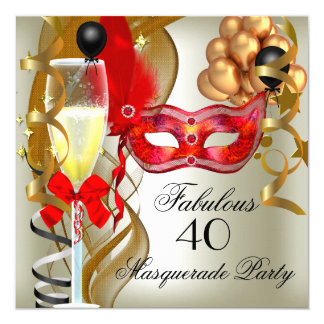 Fabulous Red Gold Cream Black Masquerade Party Card