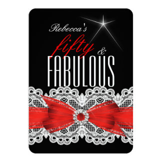 Fabulous Red Lace Black 50th Birthday Party 5 Card