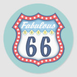 Fabulous Route 66 Round Sticker