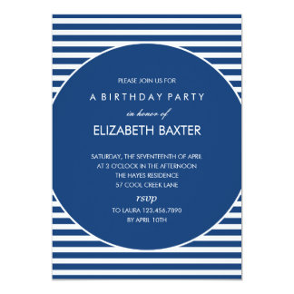 Fabulous Stripes General Party Invitation (Blue)