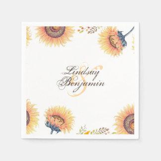 Fabulous Sunflower Blossoms Rustic Wedding Disposable Napkins