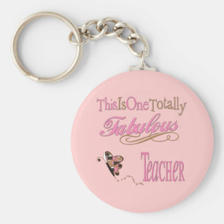 Fabulous Teacher Butterfly Basic Round Button Keychain