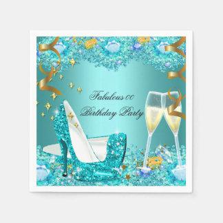 Fabulous Teal Blue Glitter High Heels Champagne DN Napkin
