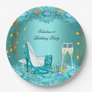 Fabulous Teal Blue Glitter Paper Plate