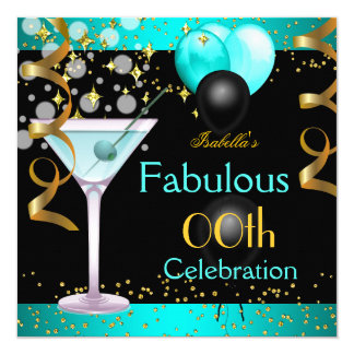 Fabulous Teal Blue Martini Gold Birthday Party Card