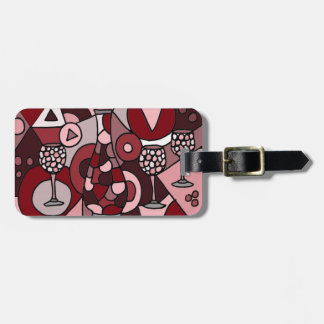 Fabulous Wine Carafe and Glasses Abstract Art Luggage Tag