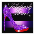 Fabulously Fierce Glittery Stiletto Stripe purple Card