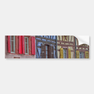 facade Alsatian houses of different colors Bumper Sticker