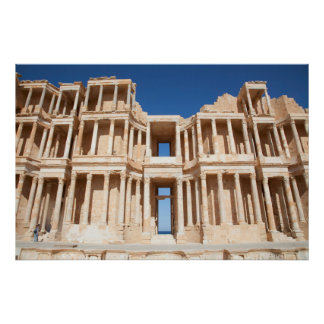 Facade And Stage Of Roman Amphitheater Poster