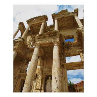 Facade of the Library of Celsus in Ephesus POSTER