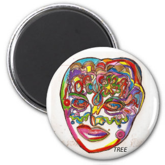 """""""Face 2K7"""" Abstract Planet Earth Face Magnet"""