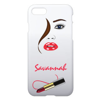 Face and Red Lipstick Kiss in the Mirror Glossy iPhone 7 Case