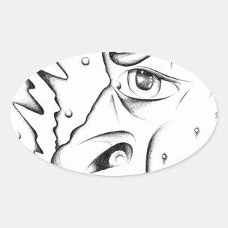 Face drawing sketch art handmade oval sticker