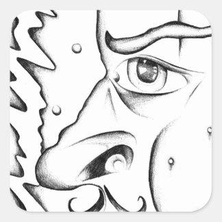 Face drawing sketch art handmade square sticker