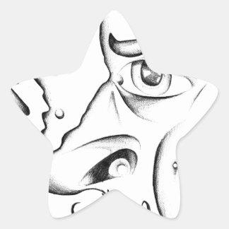 Face drawing sketch art handmade star sticker